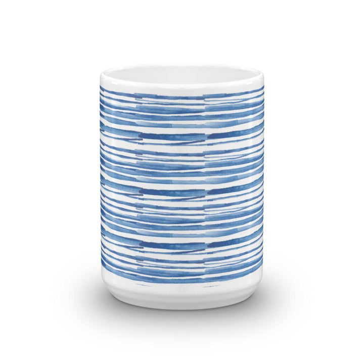 Abstract Basketweave Mug (Blue Watercolour Mug Series) - Abstract Blue Modern Mug Watercolour - Home & Garden