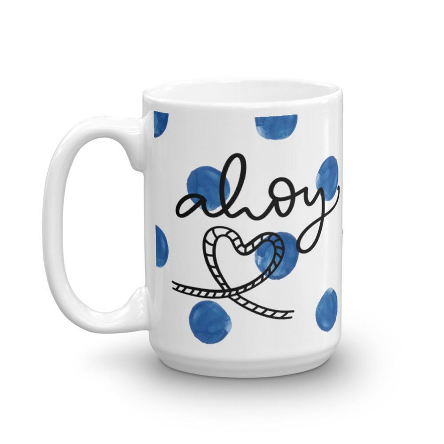 Ahoy! Mug (Blue Watercolour Mug Series) - Ahoy Blue Boat Coastal Lifestyle Mug - Home Decor