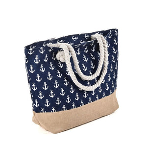 Anchored Canvas Beach Tote (with Rope Handles) - Anchor Collection Anchors Beach Bag Everyday Bags Jute - Accessories