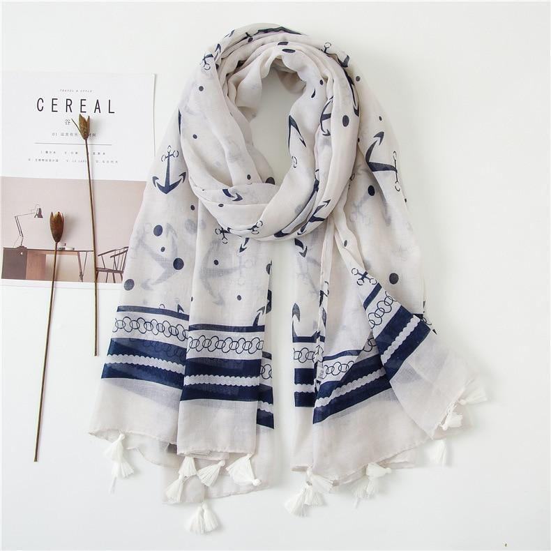 Anchored Scarf - Anchor Collection Anchors Best Stripes Navy Navy Blue - Accessories