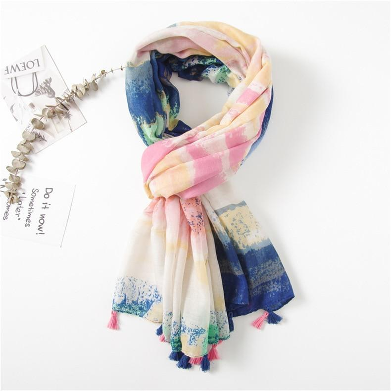 Beach Babe Scarf - Navy Blue Pink Scarves Watercolour - Accessories