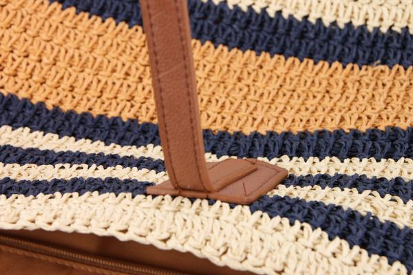 Beach Day Navy Striped Straw Tote - Beach Bags Best Stripes Blue Navy Navy Blue - Fashion Accessories