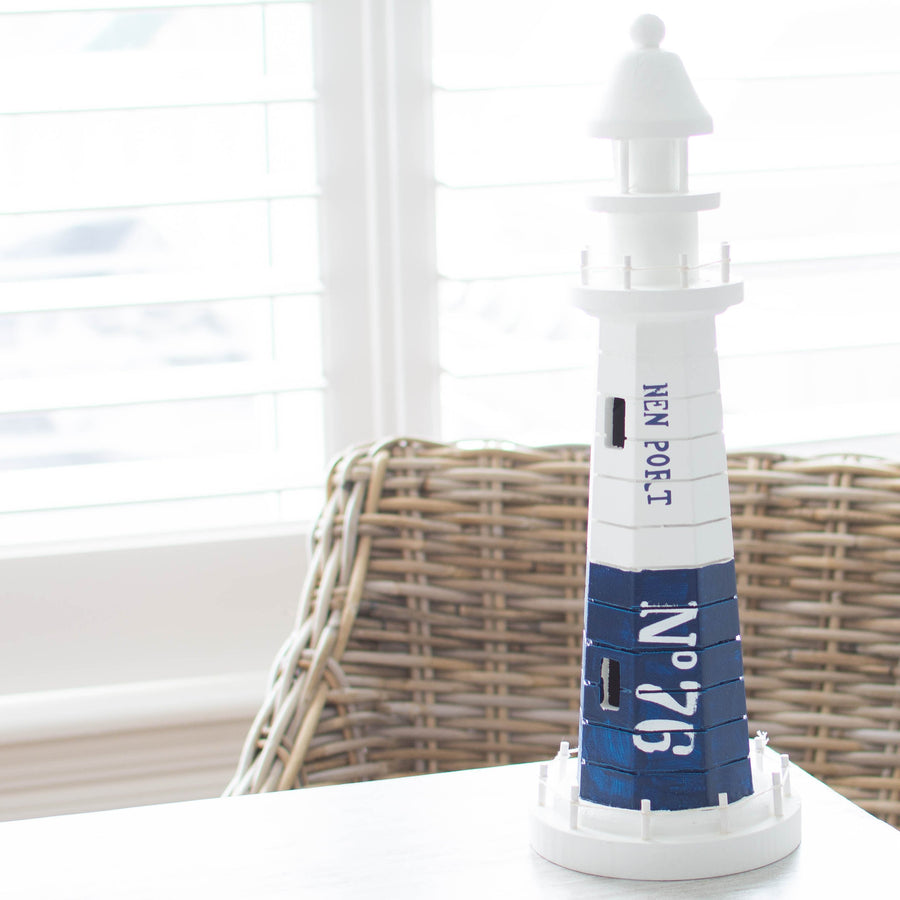 Beacon No.76 Wooden Lighthouse - Blue Lighthouse White Wood - Home Decor
