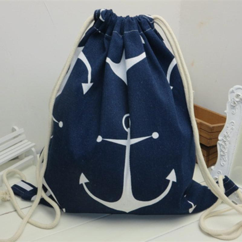 Big Anchors Cotton Drawstring Backpack - Accessories Coastal Lifestyle Cotton Canvas Bags