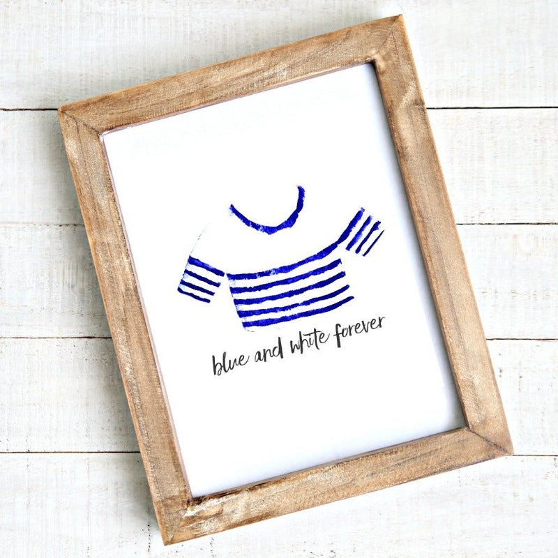 Coastal artwork - printable - blue white forever