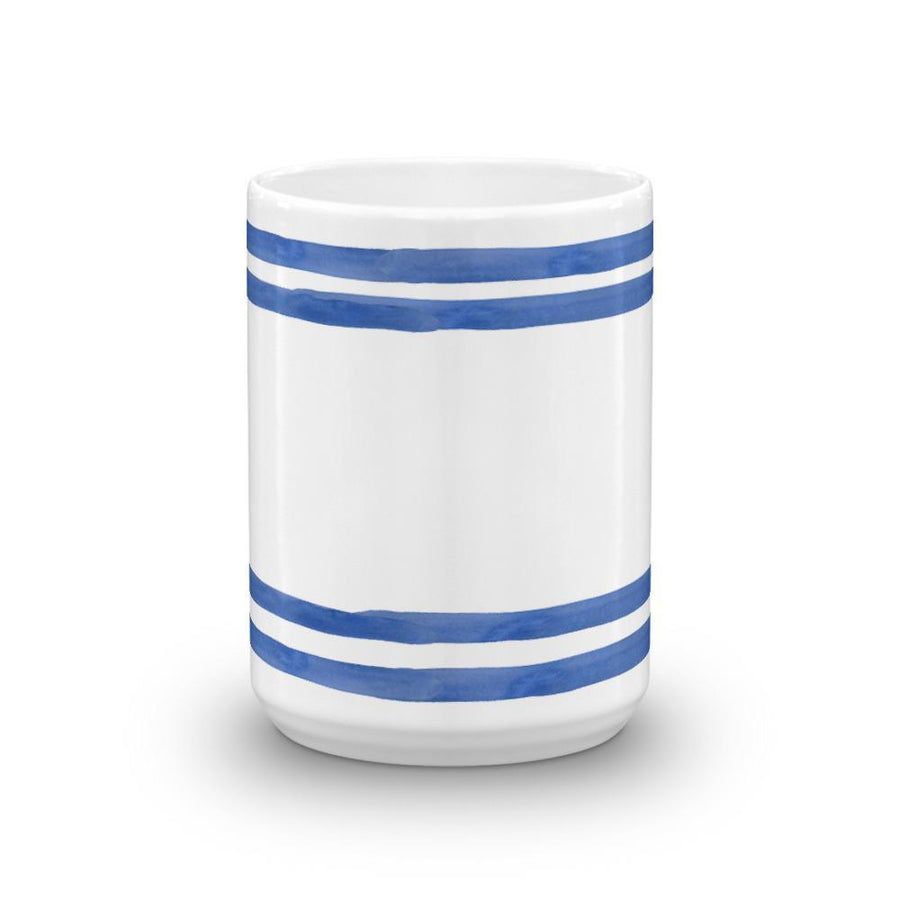 Blue Nautical Stripes Mug (Blue Watercolour Mug Series) - Best Stripes Blue Mug Nautical Striped Collection - Home & Garden