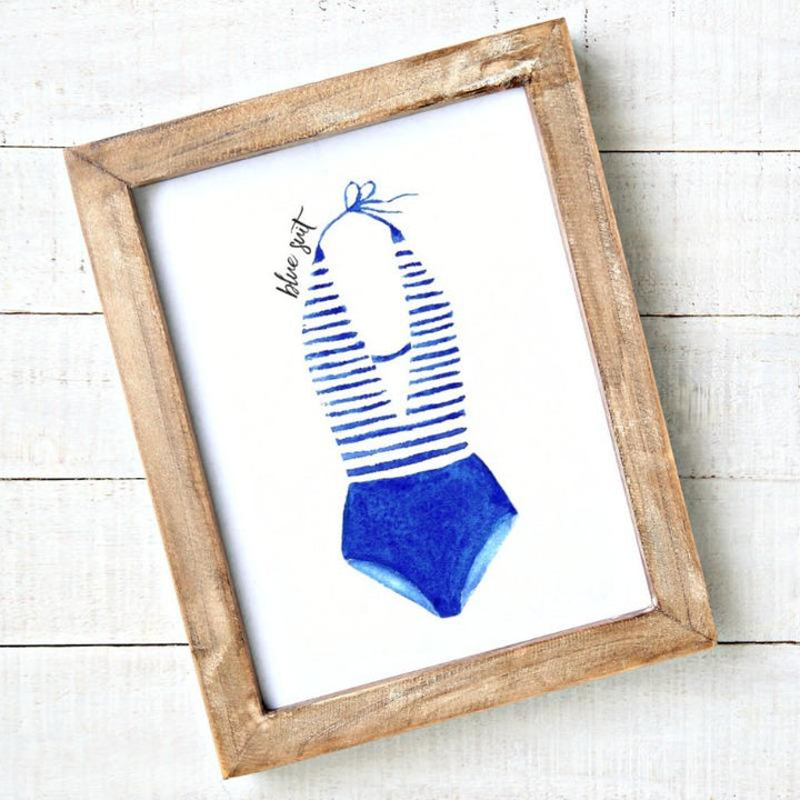 Coastal art - Blue striped swimsuit