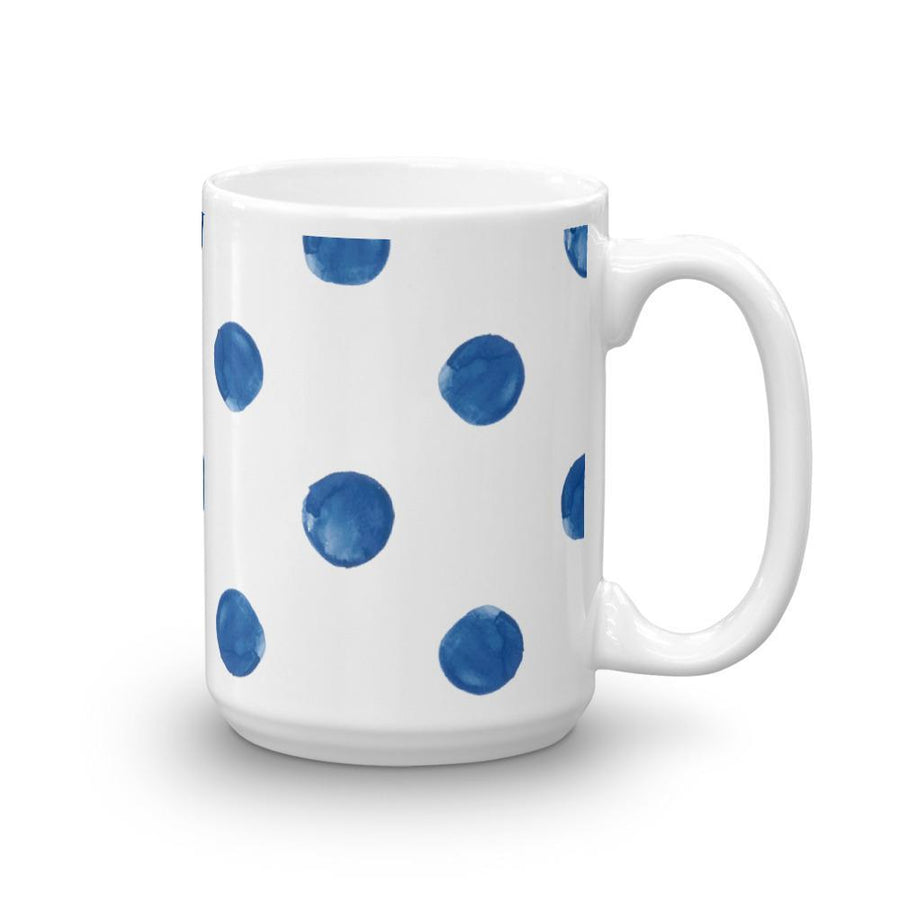 Blue Watercolour Dot Mug (Blue Watercolour Mug Series) - Blue Mug Watercolour - Home & Garden