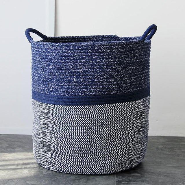 Blue Woven Storage Basket (with Centre Stripe) - Basket Best Stripes Blue Storage Striped Collection - Home Decor