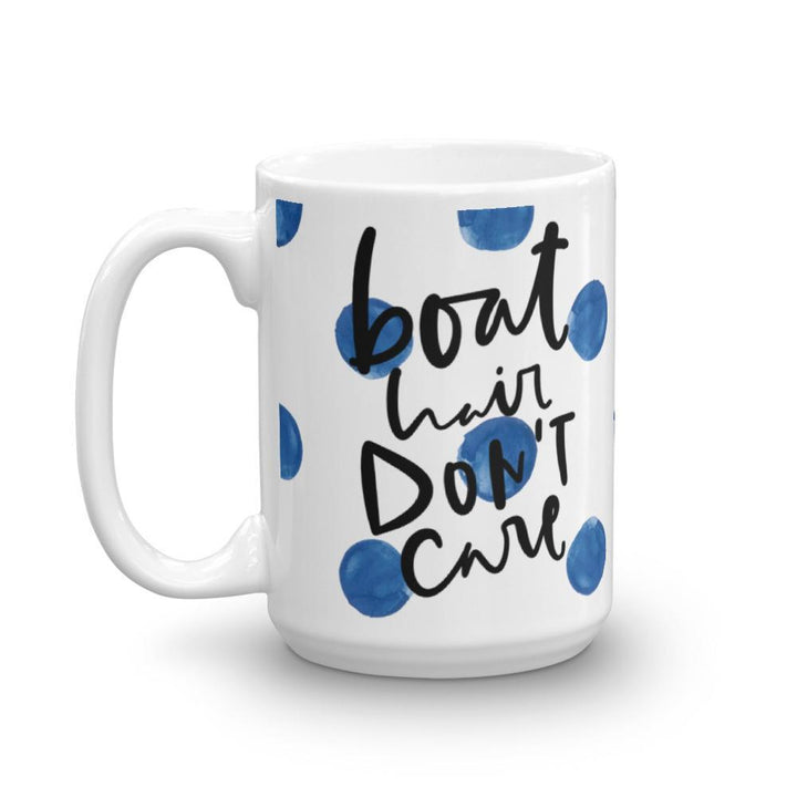 Boat Hair Dont Care Mug (Blue Watercolour Mug Series) - Blue Boat Mug Watercolour