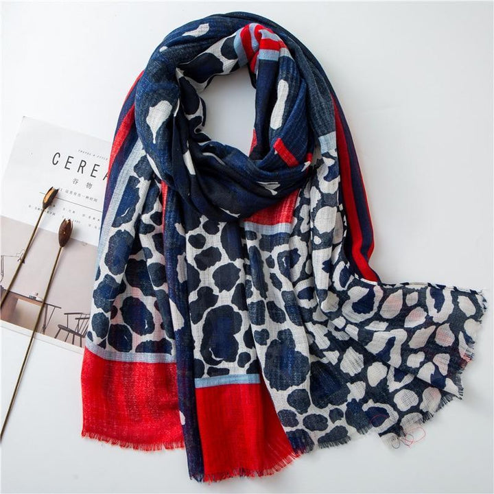 Cape Cod Scarf - Leopard Navy Blue Red Scarves Striped Collection - Accessories