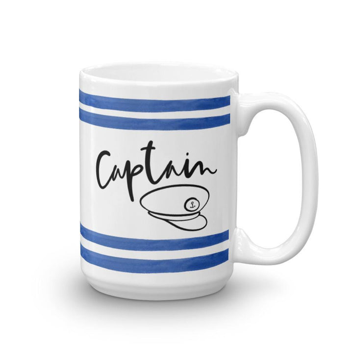 Captain Mug (Blue Watercolour Mug Series) - Blue Boat Captain Mug Striped Collection - Home Decor