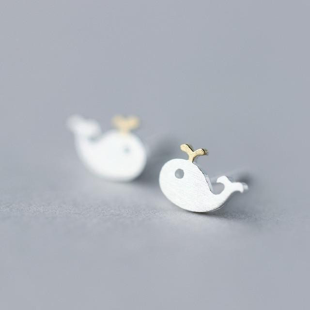 Crowned Whale Silver Studs - Accessories Aqua Coastal Lifestyle Earrings Fish and Whale Collection