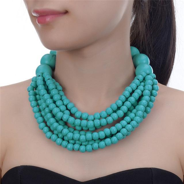 Cruise Party Wood Statement Necklace - Accessories Coastal Lifestyle Red Silver Teal - Accessories