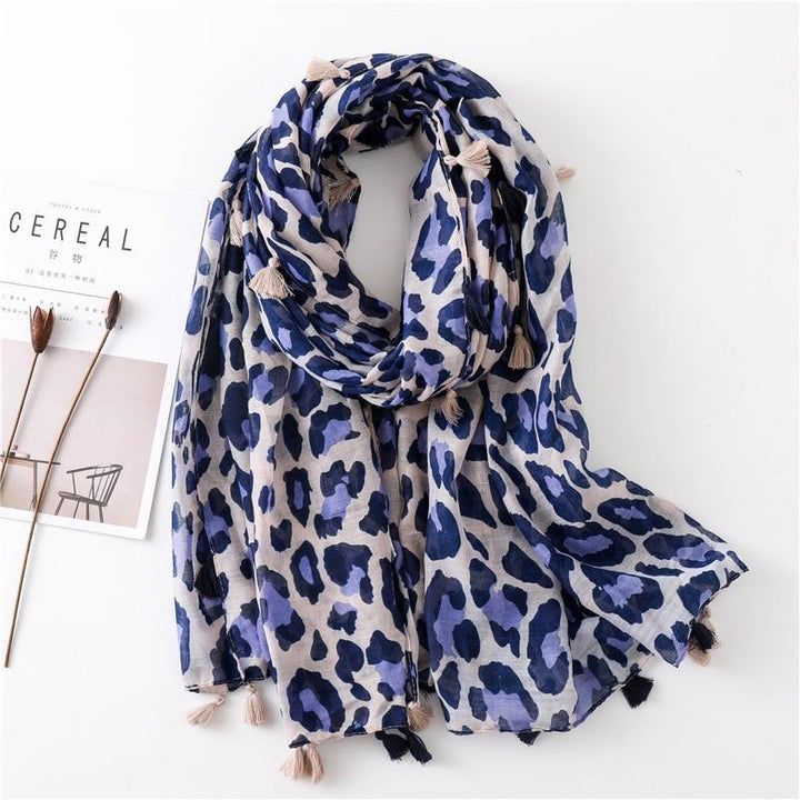 Date Night II Scarf - Leopard Navy Blue Scarves - Accessories