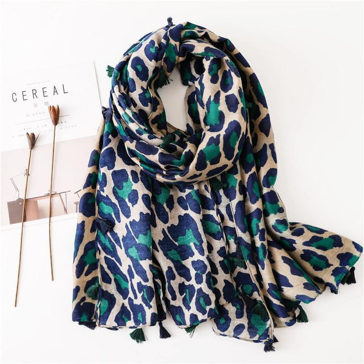 Date Night Scarf - Green Leopard Navy Blue Scarves - Accessories