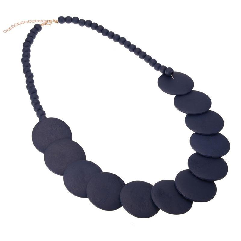 Decked Out No.2 Wood Statement Necklace - Accessories Black Coastal Lifestyle Fall Green - Accessories