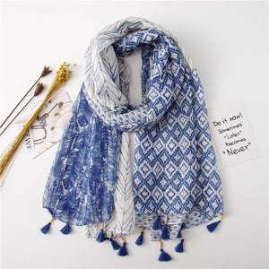Dockside Scarf (2 Colours) - Blue Navy Blue Scarves Stripes - Accessories