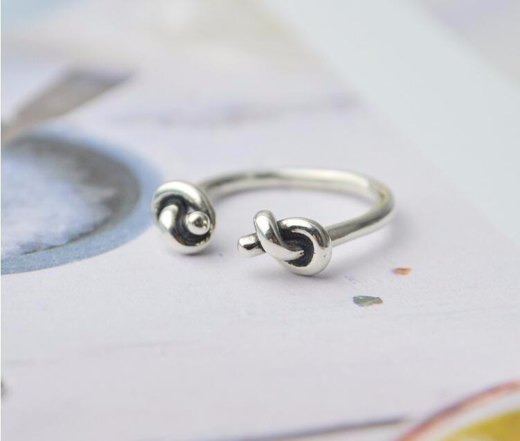 Double Knot Silver Ring - Accessories Coastal Lifestyle Jewellery Rings Rope Knots