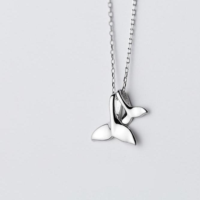Double Whale Tail Silver Necklace - Accessories Coastal Lifestyle Jewellery Necklace Silver