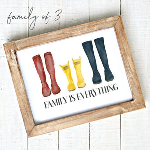 """Family is Everything"" - Downloadable Printable Art - Watercolour Rain Boots"