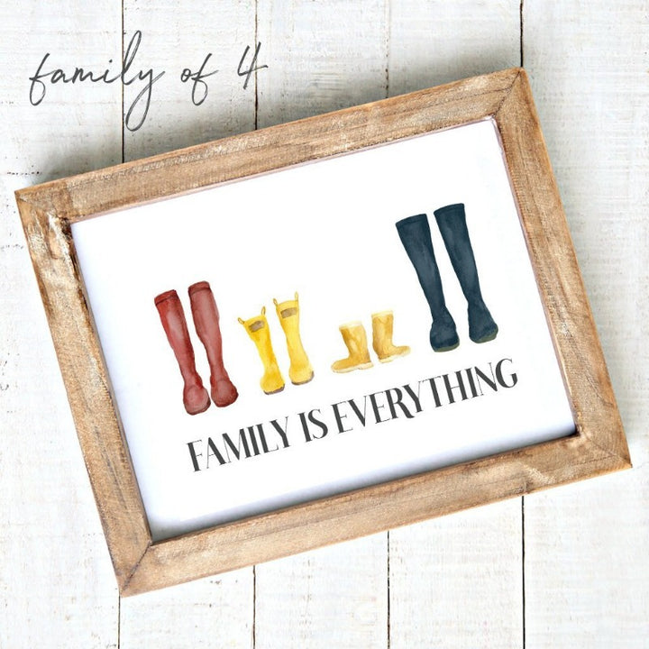 """Family is Everything"" - Downloadable Printable Art - Watercolour Rain Boots 4"