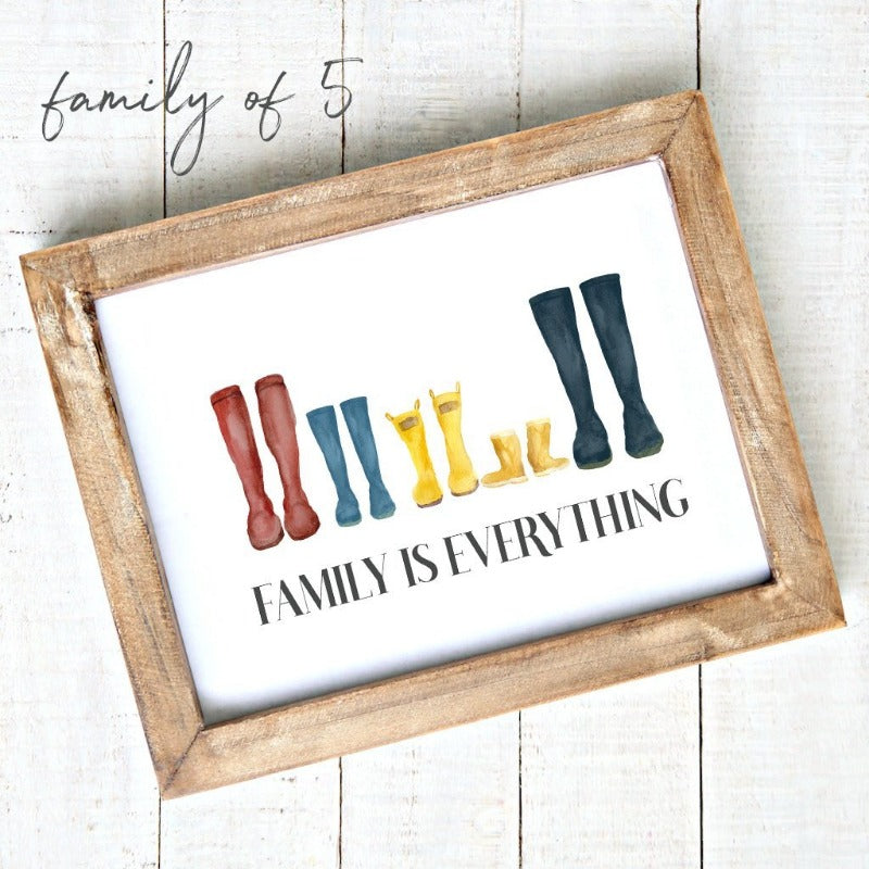 """Family is Everything"" - Downloadable Printable Art - Watercolour Rain Boots 5"