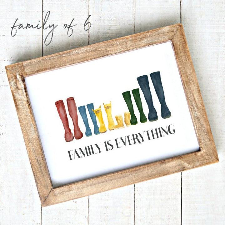 """Family is Everything"" - Downloadable Printable Art - Watercolour Rain Boots 6"