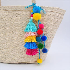 Fiesta Pom Pom & Tassel Bag Dangler - Bag Accessories Bags Colourful Pom Pom Tassel - Accessories