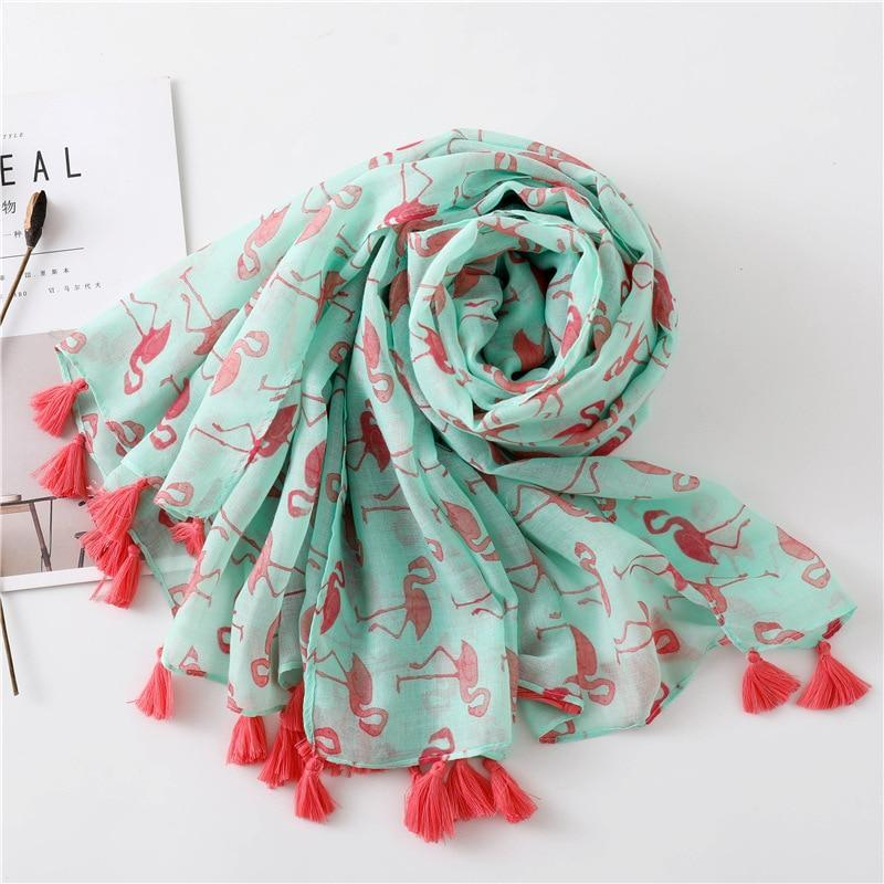 Flamingo Party Scarf - Flamingo Green Pink Scarves - Accessories