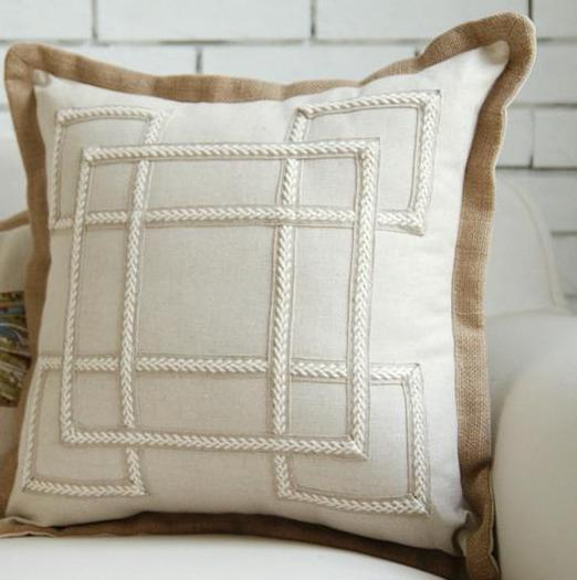 Geometric Embroidery Linen Pillow Cover - Els PW 9383 Fall Geometric Jute Linen - Accessories