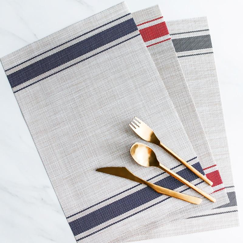 Grain Sack Stripe Wipeable Placemats (Set of 6) - Blue Els PW 9383 Grain Sack Gray Nautical - Home & Garden