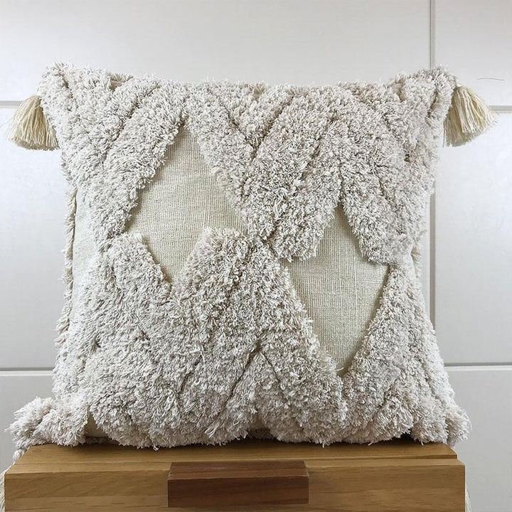 Handmade Linen & Wool Embellished Pillow Cover - Accessories Els PW 9383 Fall Home Accessories Linen - Home Decor