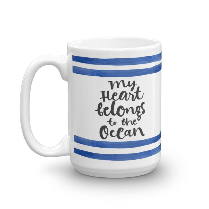 Heart Belongs to the Ocean Mug (Ocean Lovers Mug Series) - Mug Ocean Whale - Home & Garden