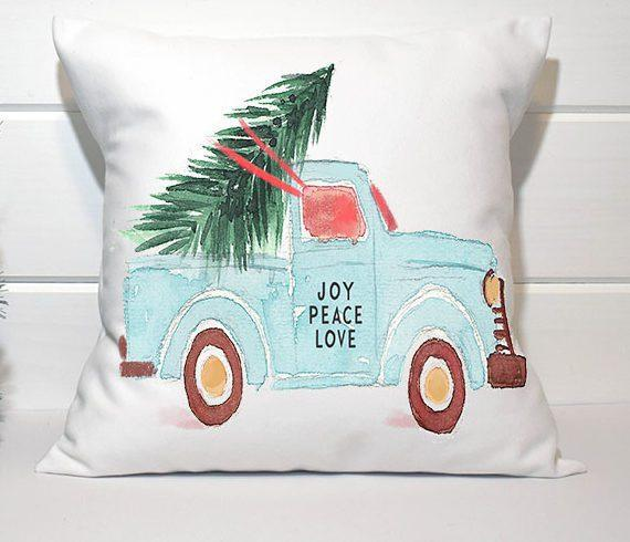 Holiday Pillow - Aqua Truck - Els PW 9383 woo_import_1