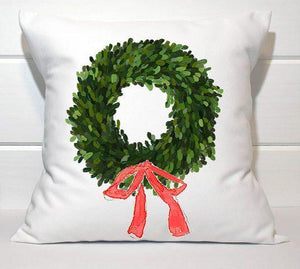 Holiday Pillow - Boxwood Wreath with Red Bow - Els PW 9383 woo_import_1