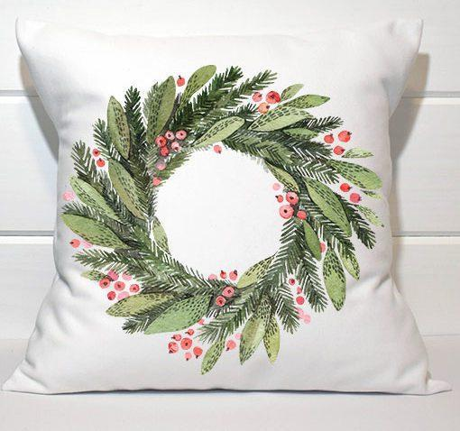 Holiday Pillow - Red and Green Wreath - Els PW 9383 woo_import_1