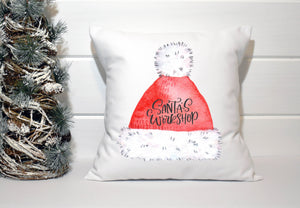Holiday Pillow - Red Santa Hat Santas Workshop - Els PW 9383 woo_import_1