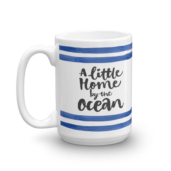 Home by the Ocean Mug (Ocean Lovers Mug Series) - Blue Mug Ocean Striped Collection Stripes - Home & Garden
