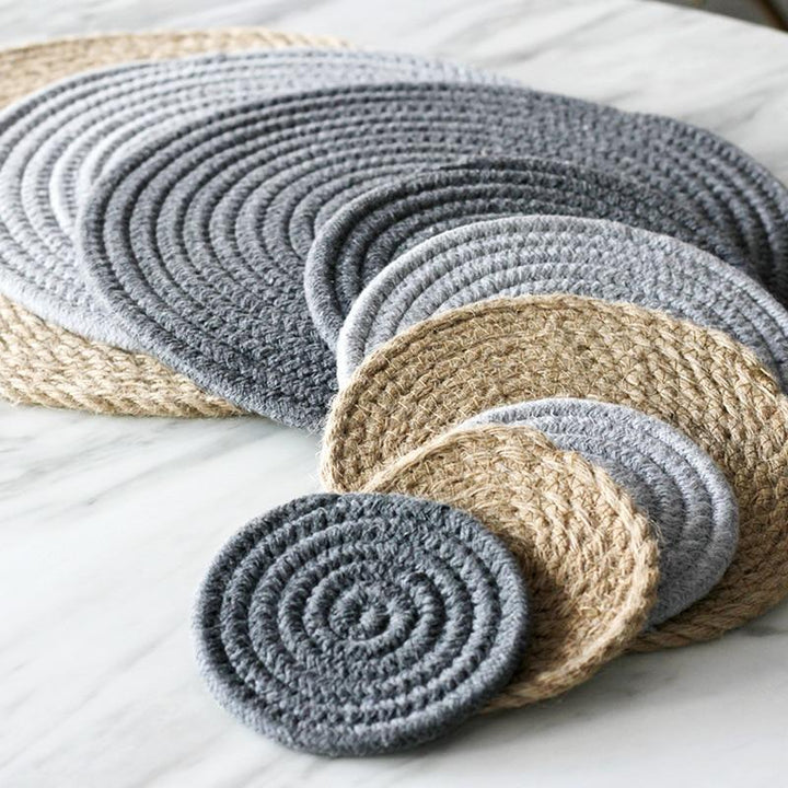 Jute Look Cotton Coasters/Placemats - Jute Placemat Sisal - Home Decor