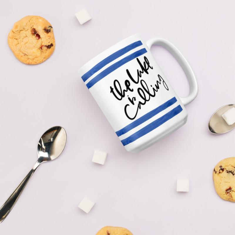 Lake is Calling Mug (Blue Watercolour Mug Series) - Best Stripes Coastal Lifestyle Lake Mug Striped Collection - Home Decor