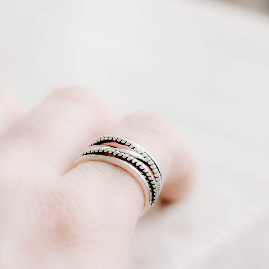 Layers of Rope Silver Ring - Accessories Coastal Lifestyle Jewellery Rings Rope Knots
