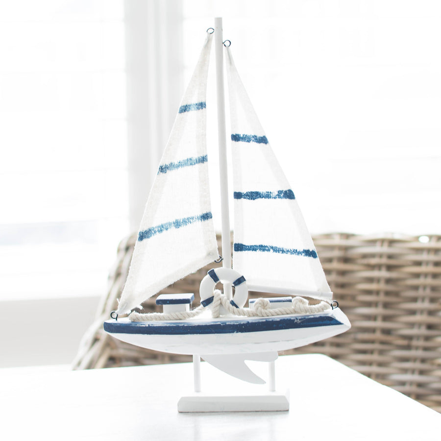 Lets Sail Away Wooden Sailboat - Best Stripes Blue Boat Bracelets Striped Collection - Home Decor