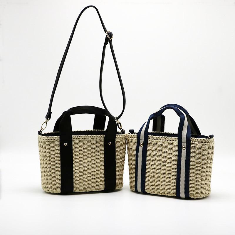 Lets Sail Braided Straw Handbag - Accessories Bags Best Stripes Black Coastal Lifestyle - Accessories