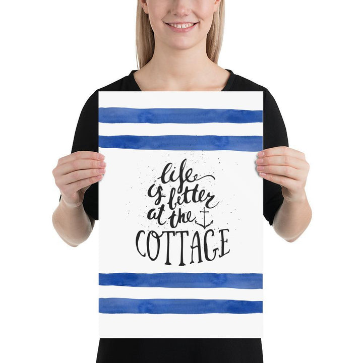 Life is Better at the Cottage (Life is Better Series) - Blue Cottage Els PW 9383 Life is better quote Nautical - Home Decor