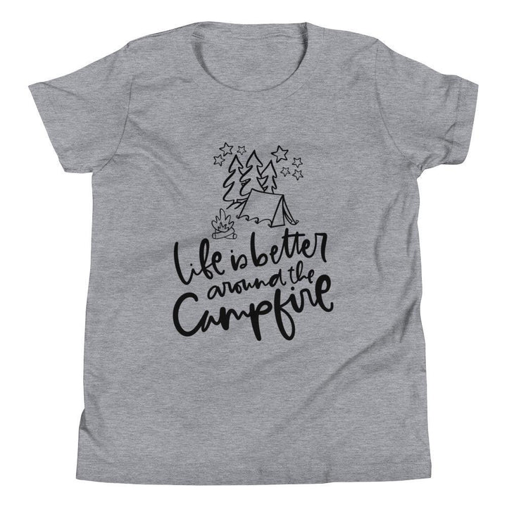 Life is Better/Campfire Youth Short Sleeve (2 Colours) - Campfire Camping Short Sleeves Youth Shirt - Fashion Accessories