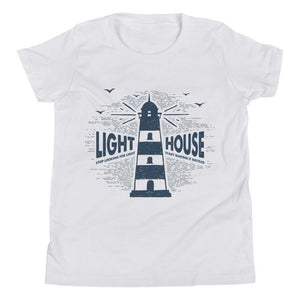Lighthouse Youth Short Sleeve (2 Colours) - Lighthouse Nautical Short Sleeves Youth Shirt - Fashion Accessories