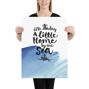 Little Home by the Sea (Nautical Watercolour Quotes Series) - Blue Boat Nautical Watercolour Quotes Series Ocean Watercolour - Home Decor