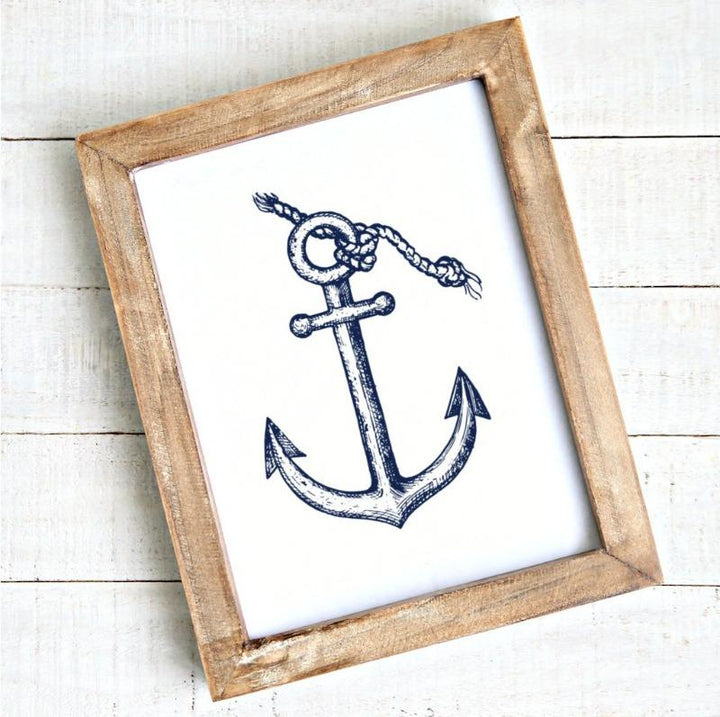 Modern coastal art anchor printable