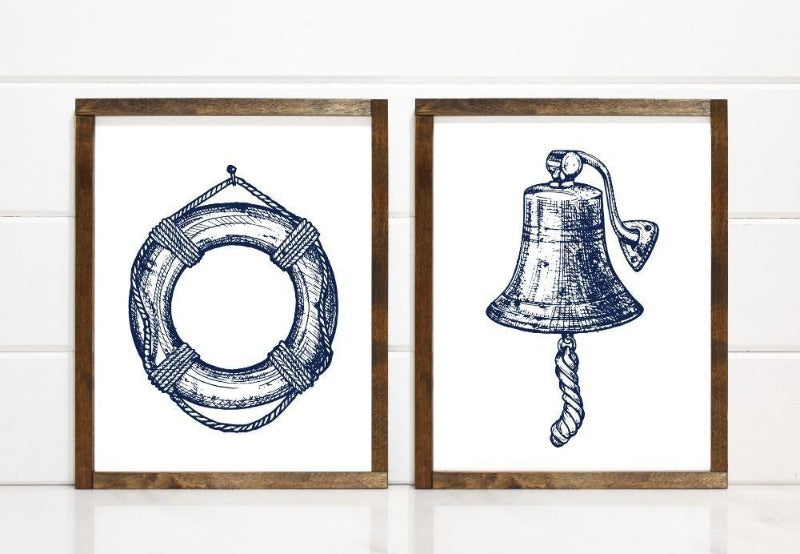 Modern Sketched Lifesaver Buoy - Printable Art - Downloadable - Art